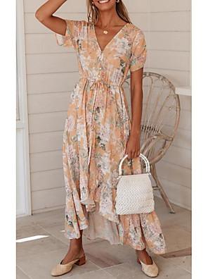 preiswerte Für Junge Frauen-Damen Sommerkleid Maxikleid - Kurzarm Blumen Druck Sommer mumu Alltag 2020 Rosa S M L XL