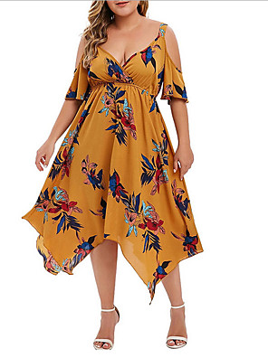 cheap Plus Size Dresses-Women's A-Line Dress Midi Dress - Short Sleeve Print Summer Casual Sexy 2020 White Blue Red Yellow Light Blue S M L XL XXL XXXL XXXXL XXXXXL