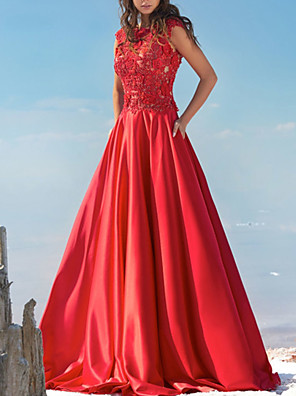cheap Special Occasion Dresses-A-Line Beautiful Back Floral Engagement Formal Evening Dress Jewel Neck Sleeveless Sweep / Brush Train Lace Satin with Pleats Appliques 2020