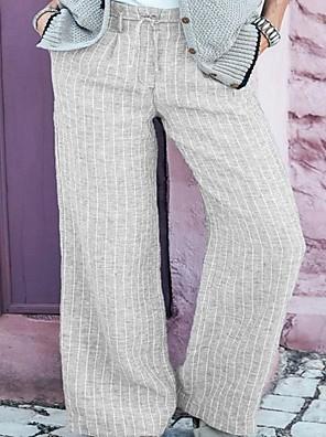 cheap Women's Pants-Women's Basic Chinos Pants - Striped Quick Dry White Black Brown M / L / XL