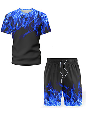 cheap iPhone Cases-Men's Set Graphic Flame Print Tops Beach Street chic Round Neck Blue Purple Red / Sports / Short Sleeve