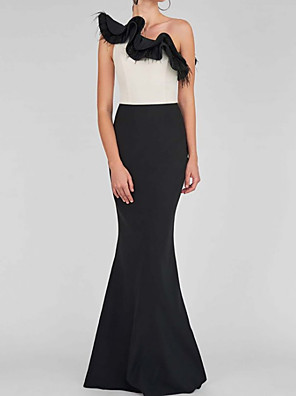 cheap Evening Dresses-Mermaid / Trumpet Color Block Sexy Wedding Guest Prom Dress One Shoulder Sleeveless Floor Length Satin with Ruffles 2020
