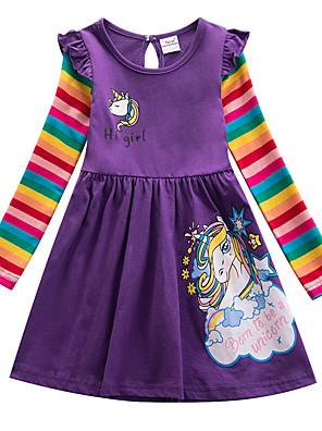 baratos Vestidos De Unicórnio-Infantil Para Meninas Desenho Animado Vestido Roxo