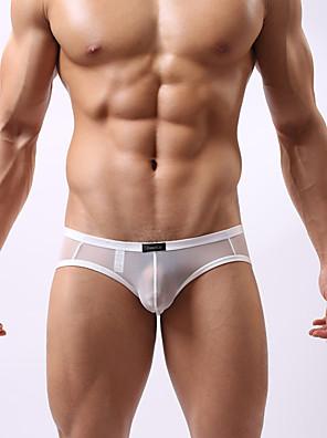 cheap Men's Exotic Underwear-Men's Mesh Briefs Underwear Low Waist White Black Red M L XL