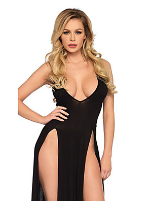 cheap Sexy Bodies-Women's Mesh Split Babydoll & Slips Suits Nightwear Solid Colored Black M L XL