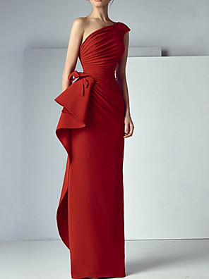 cheap Evening Dresses-Sheath / Column Elegant Beautiful Back Engagement Formal Evening Dress One Shoulder Sleeveless Floor Length Satin with Draping 2020