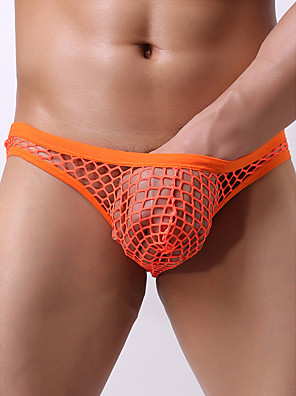 cheap Men's Exotic Underwear-Men's Mesh Briefs Underwear - Normal Low Waist White Black Orange M L XL