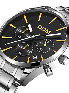 cheap Quartz Watches-DOM Men's Steel Band Watches Quartz Modern Style Stylish Casual Water Resistant / Waterproof Stainless Steel Analog - Black / Silver White+Silver Black / Calendar / date / day