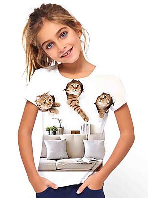billige Pigetoppe-Børn Pige Basale Ferie Kat Dyr Trykt mønster Kortærmet T-shirt Hvid