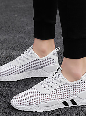 cheap Men's Pants & Shorts-Men's Summer / Fall Casual / British Daily Outdoor Trainers / Athletic Shoes Walking Shoes Mesh Breathable Wear Proof White / Black / Green