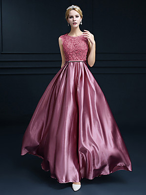 cheap Special Occasion Dresses-A-Line Beautiful Back Cute Formal Evening Dress Jewel Neck Sleeveless Floor Length Lace Satin with Crystals 2020