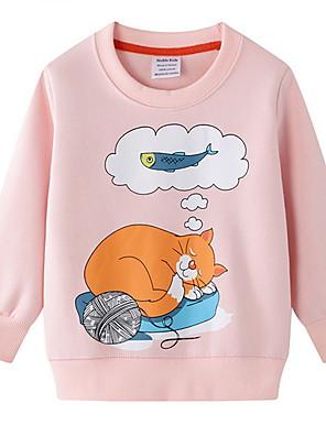 cheap Boys' Tops-Kids Girls' Street chic Animal Long Sleeve Hoodie & Sweatshirt Blushing Pink