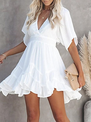 cheap Casual Dresses-Women's A-Line Dress Short Mini Dress - Short Sleeve Solid Color Summer Casual 2020 White S M L XL XXL XXXL