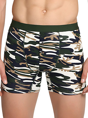 cheap Men's Exotic Underwear-Men's Print Boxers Underwear - Normal Mid Waist Red Army Green Khaki M L XL