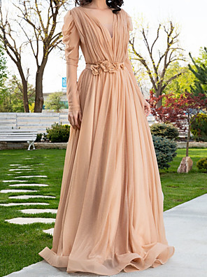 cheap Evening Dresses-A-Line Elegant Floral Engagement Formal Evening Dress V Neck Long Sleeve Sweep / Brush Train Chiffon with Sash / Ribbon Pleats 2020