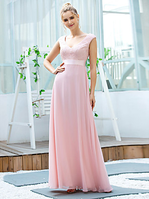 cheap Evening Dresses-A-Line Elegant Vintage Wedding Guest Formal Evening Dress V Neck Sleeveless Floor Length Chiffon with Sash / Ribbon Embroidery 2020