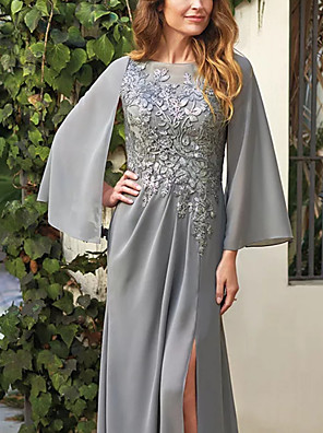 cheap Mother of the Bride Dresses-A-Line Mother of the Bride Dress Elegant Jewel Neck Floor Length Chiffon Lace Long Sleeve with Appliques Split Front 2020