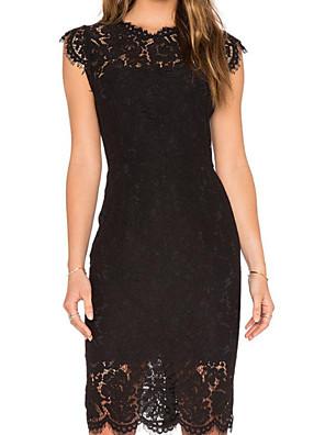 cheap Mini Dresses-Women's Sheath Dress Knee Length Dress - Sleeveless Solid Color Summer Casual 2020 Wine White Black Dusty Blue S M L XL XXL