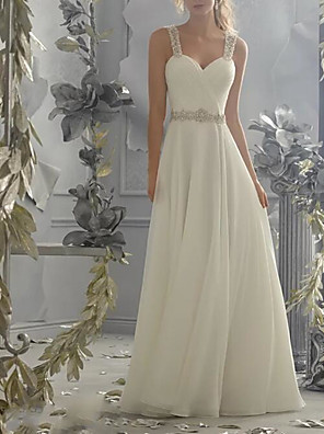 cheap Wedding Dresses-A-Line Wedding Dresses Sweetheart Neckline Sweep / Brush Train Chiffon Lace Spaghetti Strap Simple Sparkle & Shine Backless with Beading Lace Insert 2020