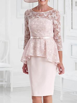 cheap Evening Dresses-Sheath / Column Mother of the Bride Dress Elegant Illusion Neck Knee Length Chiffon Lace 3/4 Length Sleeve with Sash / Ribbon 2020