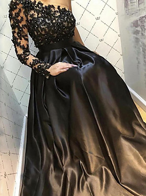 cheap Evening Dresses-A-Line Luxurious Sexy Engagement Formal Evening Dress One Shoulder Long Sleeve Floor Length Satin with Pleats Beading Appliques 2020
