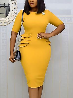 cheap Plus Size Dresses-Women's Sheath Dress Knee Length Dress - Short Sleeve Solid Color Ruffle Summer Sexy Daily Vacation 2020 Blue Yellow Blushing Pink Brown S M L XL XXL XXXL
