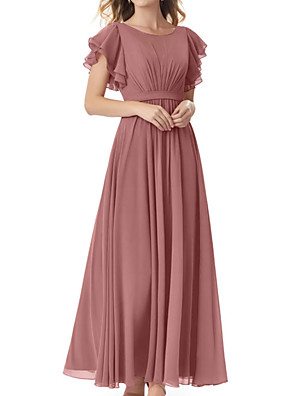 cheap Bridesmaid Dresses-A-Line Jewel Neck Floor Length Chiffon Bridesmaid Dress with Sash / Ribbon / Pleats