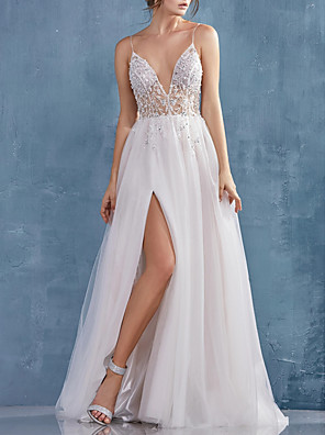 cheap Evening Dresses-A-Line Beautiful Back Sexy Engagement Formal Evening Dress V Neck Sleeveless Sweep / Brush Train Tulle with Crystals Split 2020