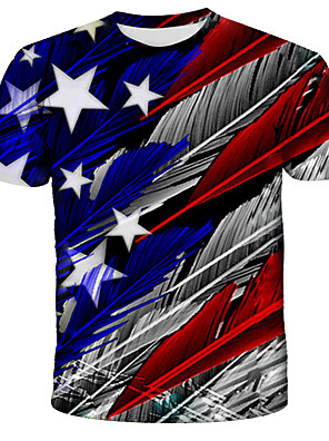 cheap Men's Tees-Men's Unisex Tee T shirt Shirt 3D Print Graphic Feather American Flag Flag Plus Size Print Short Sleeve Daily Tops Streetwear Exaggerated Round Neck Blue Red Green