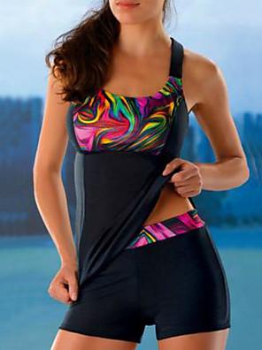 cheap Plus Size Swimwear-Women's Sexy Tankini Swimsuit Print Geometric Swimwear Bathing Suits Black / Padded Bras