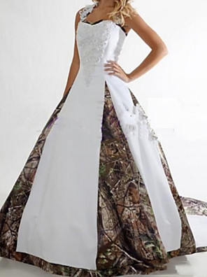 cheap Wedding Dresses-A-Line Wedding Dresses V Neck Sweep / Brush Train Satin Sleeveless Formal Camouflage with Lace Insert 2020
