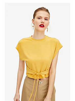 cheap Women's Blouses & Shirts-Women's Blouse Solid Colored Lace up Round Neck Tops Slim Cotton Summer Black Yellow Beige