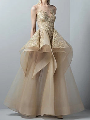 cheap Prom Dresses-A-Line Elegant Floral Wedding Guest Prom Dress Illusion Neck Sleeveless Floor Length Tulle with Appliques 2020