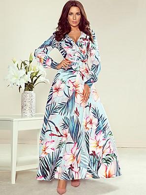 cheap Print Dresses-Women's Sheath Dress Maxi long Dress - Long Sleeve Floral Print Print Spring Fall Mumu Daily Going out 2020 Black Blue Beige S M L XL XXL