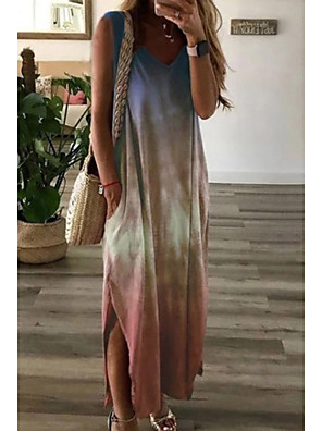 cheap Maxi Dresses-Women's Sundress Maxi long Dress - Sleeveless Color Gradient Summer V Neck Casual 2020 Purple Blushing Pink Green S M L XL XXL XXXL XXXXL XXXXXL