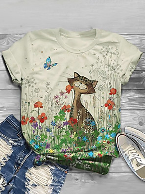 cheap Women's T-shirts-Women's T-shirt Floral Animal Long Sleeve Print Round Neck Tops Basic Basic Top Beige