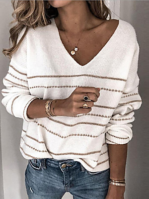 cheap Women's T-shirts-Women's Basic Striped Pullover Long Sleeve Loose Sweater Cardigans V Neck Fall Winter White Black Blushing Pink