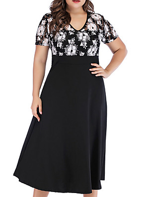 cheap Plus Size Dresses-Women's A-Line Dress Midi Dress - Short Sleeve Solid Color Summer Casual 2020 Black XL XXL XXXL XXXXL XXXXXL