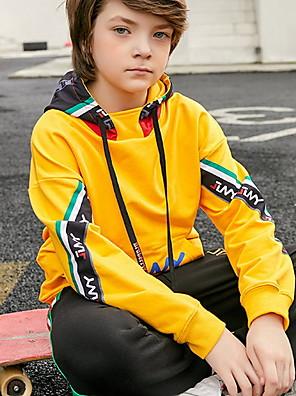 cheap Boys' Tops-Kids Boys' Street chic Patchwork Long Sleeve Hoodie & Sweatshirt Black