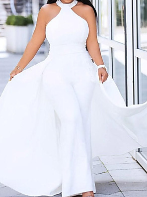 cheap Prom Dresses-Jumpsuits Sexy Plus Size Engagement Prom Dress Halter Neck Sleeveless Floor Length Satin with Sleek 2020