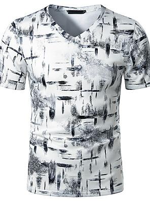 cheap Men's Tees & Tank Tops-Men's Daily T-shirt Graphic Short Sleeve Tops Basic V Neck White Gray