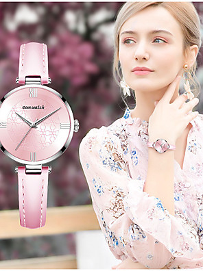 cheap Quartz Watches-DOM Women's Quartz Watches Quartz Stylish Elegant Water Resistant / Waterproof Genuine Leather Analog - Black Blushing Pink