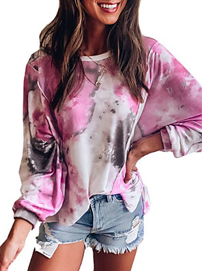 cheap Oversize Sweater-Women's T-shirt Tie Dye Round Neck Tops Loose Cotton Spring Fall Blushing Pink