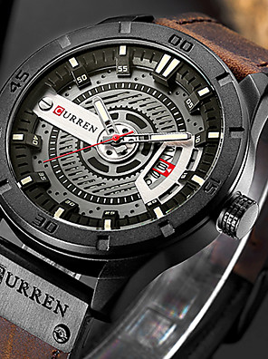 cheap Smart Watches-Men's Sport Watch Quartz Formal Style Modern Style Classic Water Resistant / Waterproof Leather Blue / Red / Brown Analog - Black+Grey Black Blue One Year Battery Life / Japanese / Shock Resistant