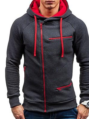 povoljno Muške košulje-Muškarci Dnevno Hoodie Dukseva s kopčanjem Jednobojni S kapuljačom Osnovni Hoodies majica Obala Crn Lila-roza