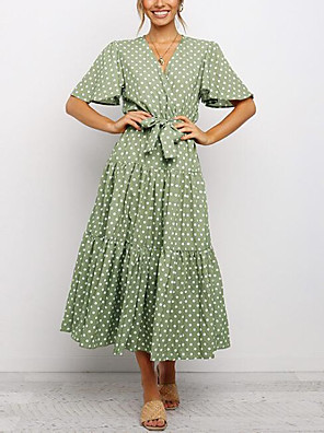 cheap Print Dresses-Women's A-Line Dress Midi Dress - Short Sleeve Polka Dot Summer V Neck Vintage 2020 White Black Green S M L XL XXL