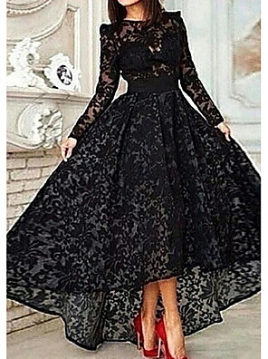cheap Evening Dresses-A-Line Elegant Floral Engagement Formal Evening Dress Jewel Neck Long Sleeve Asymmetrical Lace with Lace Insert 2020