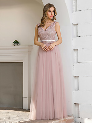 cheap Evening Dresses-A-Line Elegant Sexy Wedding Guest Formal Evening Dress V Neck Sleeveless Floor Length Satin Tulle with Sash / Ribbon Sequin 2020