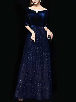 cheap Evening Dresses-A-Line Sparkle Blue Wedding Guest Formal Evening Dress Off Shoulder Half Sleeve Floor Length Polyester with Sequin 2020