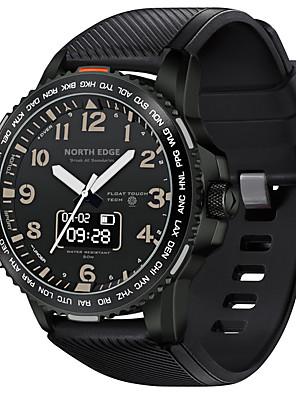 cheap Smart Watches-NORTH EDGE Men's Sport Watch Smartwatch Digital Outdoor Water Resistant / Waterproof Silicone Black Analog - Digital - Black One Year Battery Life / Touch Screen / Heart Rate Monitor / Chronograph